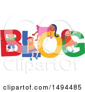 Clipart Of A Group Of Children Playing In The Colorful Word Blog Royalty Free Vector Illustration by Prawny
