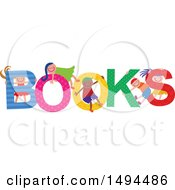 Clipart Of A Group Of Children Playing In The Colorful Word Books Royalty Free Vector Illustration