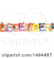Clipart Of A Group Of Children Playing In The Colorful Word For The Month Of December Royalty Free Vector Illustration