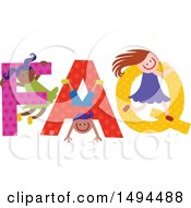 Clipart Of A Group Of Children Playing In The Colorful Word FAQ Royalty Free Vector Illustration by Prawny