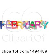 Clipart Of A Group Of Children Playing In The Colorful Word For The Month Of February Royalty Free Vector Illustration by Prawny