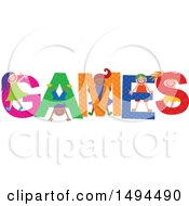 Clipart Of A Group Of Children Playing In The Colorful Word Games Royalty Free Vector Illustration by Prawny