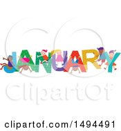 Clipart Of A Group Of Children Playing In The Colorful Word For The Month Of January Royalty Free Vector Illustration