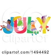 Clipart Of A Group Of Children Playing In The Colorful Word For The Month Of July Royalty Free Vector Illustration