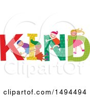 Clipart Of A Group Of Children Playing In The Colorful Word Kind Royalty Free Vector Illustration by Prawny