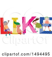 Clipart Of A Group Of Children Playing In The Colorful Word Like Royalty Free Vector Illustration by Prawny