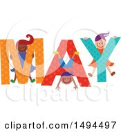 Clipart Of A Group Of Children Playing In The Colorful Word For The Month Of May Royalty Free Vector Illustration by Prawny