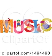 Clipart Of A Group Of Children Playing In The Colorful Word Music Royalty Free Vector Illustration by Prawny