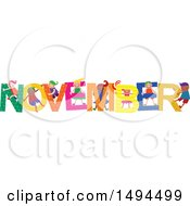 Clipart Of A Group Of Children Playing In The Colorful Word For The Month Of November Royalty Free Vector Illustration