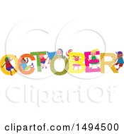 Clipart Of A Group Of Children Playing In The Colorful Word For The Month Of October Royalty Free Vector Illustration