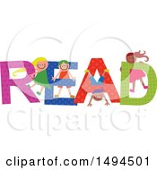 Clipart Of A Group Of Children Playing In The Colorful Word Read Royalty Free Vector Illustration