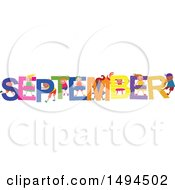Clipart Of A Group Of Children Playing In The Colorful Word For The Month Of September Royalty Free Vector Illustration