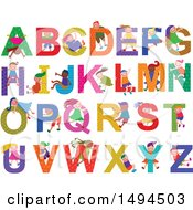 Clipart Of A Group Of Children And Capital Alphabet Letters Royalty Free Vector Illustration