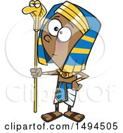 Clipart Of A Cartoon Pharaoh Boy Holding A Snake Staff Royalty Free Vector Illustration by toonaday