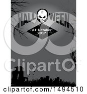 Cracked Skull And Halloween Text Over A Silhouetted Cemetery With Bats