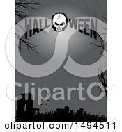 Cracked Skull In Halloween Text Over A Silhouetted Cemetery With Bats