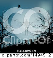 Clipart Of A Demon Against A Full Moon Above A Cemetery With Halloween Text Royalty Free Vector Illustration by elaineitalia