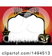 Halloween And Date Tombstone Border With A Witch Cat And Jackolantern