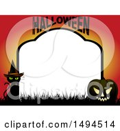 Halloween Tombstone Border With A Witch Cat And Jackolantern