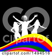 Silver Disco Ball Silhouetted Man And Women Dancing Over A Colorful Wave On Black