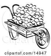 Old Fashioned Wooden Wheelbarrow With Pretty Daisy Flowers On Easter Black And White Clipart Illustration