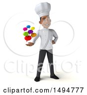 3d Young Black Male Chef On A White Background