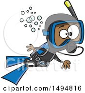 Clipart Of A Cartoon African American Boy Scuba Diving Royalty Free Vector Illustration