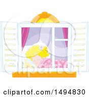 Clipart Of A Window Framing A Girl Sleeping Royalty Free Vector Illustration