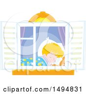 Window Framing A Boy Sleeping