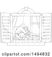 Clipart Of A Black And White Window Framing A Girl Sleeping Royalty Free Vector Illustration