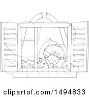 Black And White Window Framing A Boy Sleeping