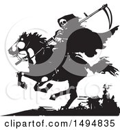 Grim Reaper On Horseback In Black And White Woodcut Style