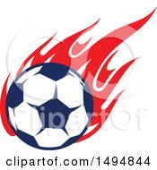 Poster, Art Print Of Soccer Ball With Red Flames