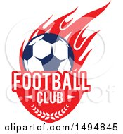 Poster, Art Print Of Soccer Ball With Text And Red Flames