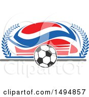 Clipart Of A Soccer Ball And Arena Royalty Free Vector Illustration by Vector Tradition SM
