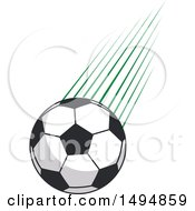 Soccer Ball And Green Lines