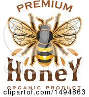 Clipart Of A Honey Bee With Text Royalty Free Vector Illustration