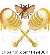 Clipart Of A Honey Bee And Crossed Dippers Royalty Free Vector Illustration