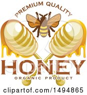 Clipart Of A Honey Bee And Dippers With Text Royalty Free Vector Illustration