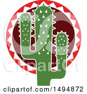 Clipart Of A Mexican Themed Cactus Royalty Free Vector Illustration by Vector Tradition SM