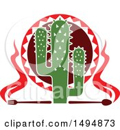 Clipart Of A Mexican Themed Cactus With Flames A Fork And Spoon Royalty Free Vector Illustration by Vector Tradition SM