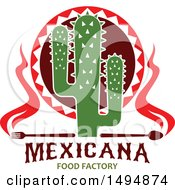 Clipart Of A Mexican Themed Cactus With A Fork Spoon And Flames Over Text Royalty Free Vector Illustration by Vector Tradition SM