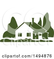 Clipart Of A Green Home Design Royalty Free Vector Illustration by Vector Tradition SM