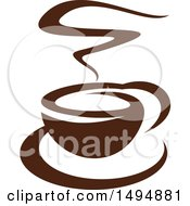Clipart Of A Dark Brown Coffee Cup Royalty Free Vector Illustration by Vector Tradition SM