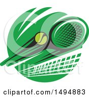 Clipart Of A Tennis Ball Racket And Net Design Royalty Free Vector Illustration