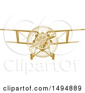 Clipart Of A Vintage Biplane Royalty Free Vector Illustration