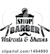 Black And White Barber Shop Design With Text