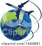 Clipart Of A Commercial Airliner Circling Planet Earth Royalty Free Vector Illustration