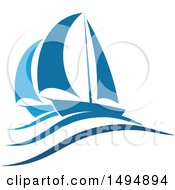 Clipart Of A Blue Yacht Design Royalty Free Vector Illustration by Vector Tradition SM