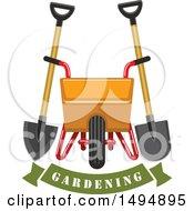 Gardening Banner With A Spade Shovel And Wheelbarrow